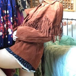 Vintage Jackets & Coats - AVANTI Fringe Brown Leather Jacket Western Funk